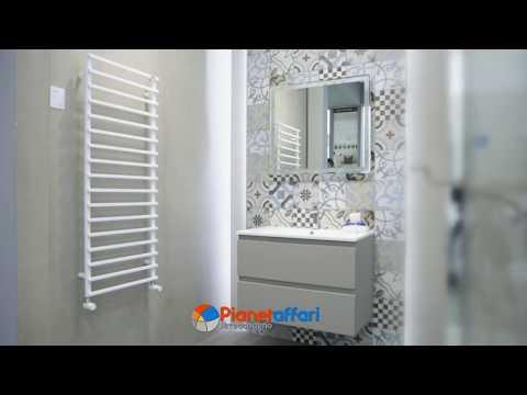 Mobile da bagno sospeso cm 80-100 Light Coffee completo di Specchio serie Lisbona 2