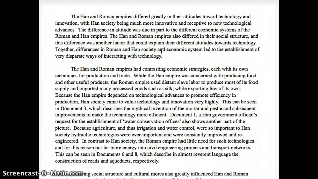 dbq rome and han Free essay: using the documents, analyze han and roman attitudes toward  technology identify one additional type of document and explain.