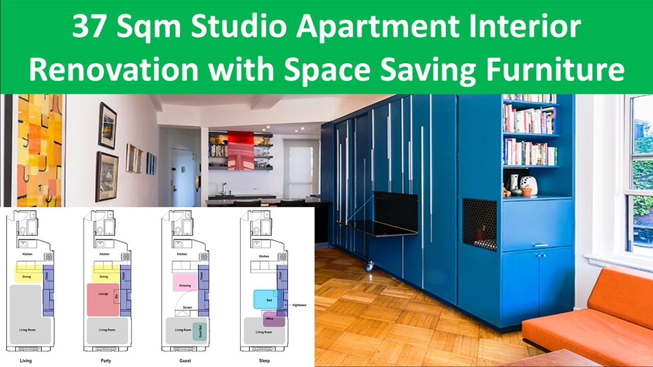 37 Sqm Studio Apartment Interior Renovation With Space Saving Furniture    YouTube