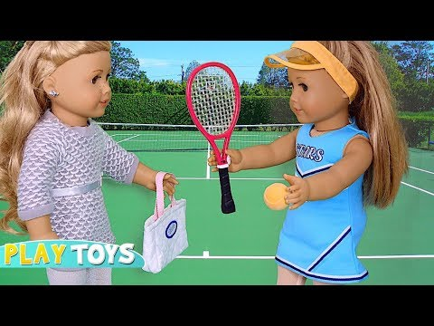 Play American GIrl Doll Sport Toys: Tennis, Ballet Class, Skating, Yoga,! Silly doll parody !