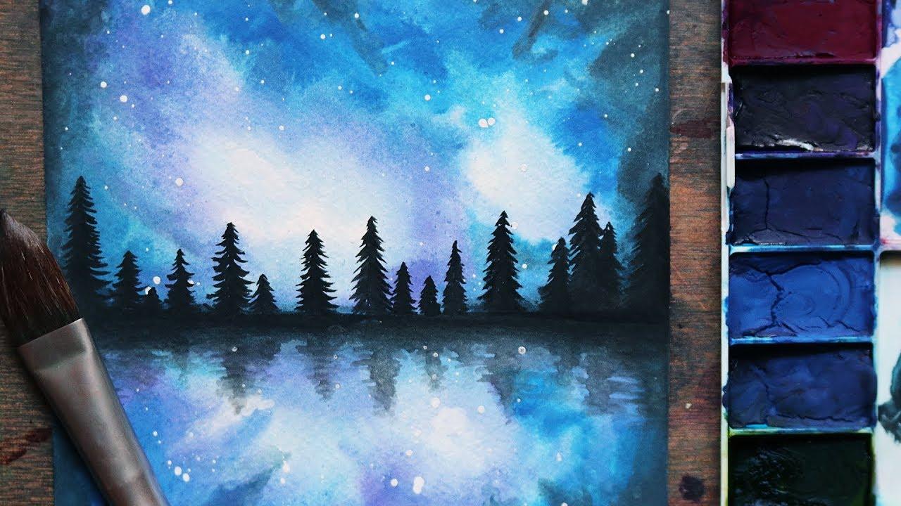 تعلم الرسم كيف ترسم منظر طبيعي سهل للمبتدئين رسم اشجار ومجرة