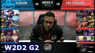 Cloud 9 vs 100 Thieves | Week 2 Day 2 S8 NA LCS Summer 2018 | C9 vs 100 W2D2