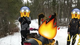 SNOWMOBILE CAUGHT ON FIRE!!