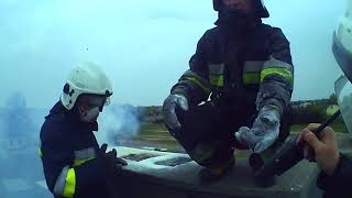 [Alarmowo][Helmet Cam] Pożar sadzy + czyszczenie komina - OSP Glinojeck