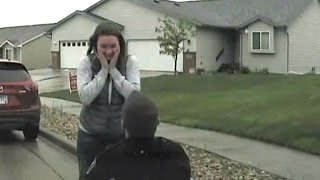 Police Officer Pulls Over Girlfriend for Surprise Roadside Proposal In The Rain