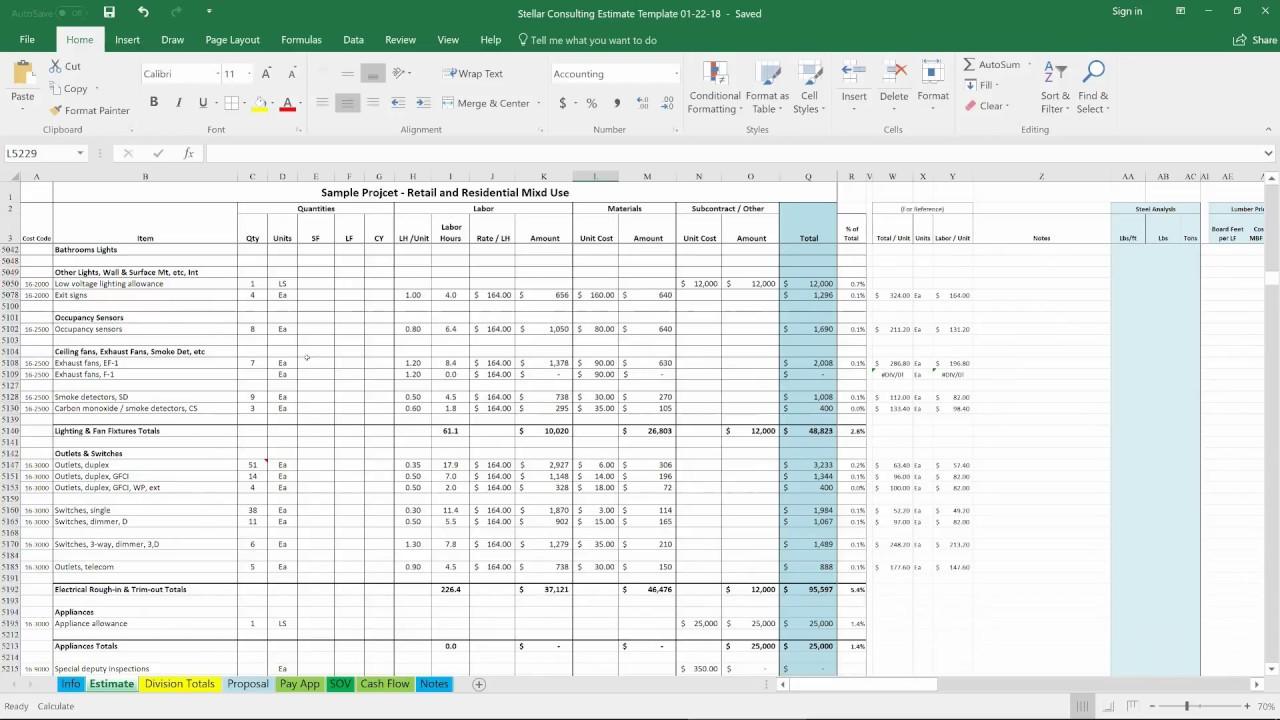 consulting estimate template