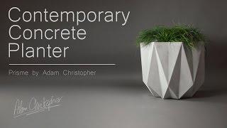 Prisme Contemporary Planter in Grey Concrete
