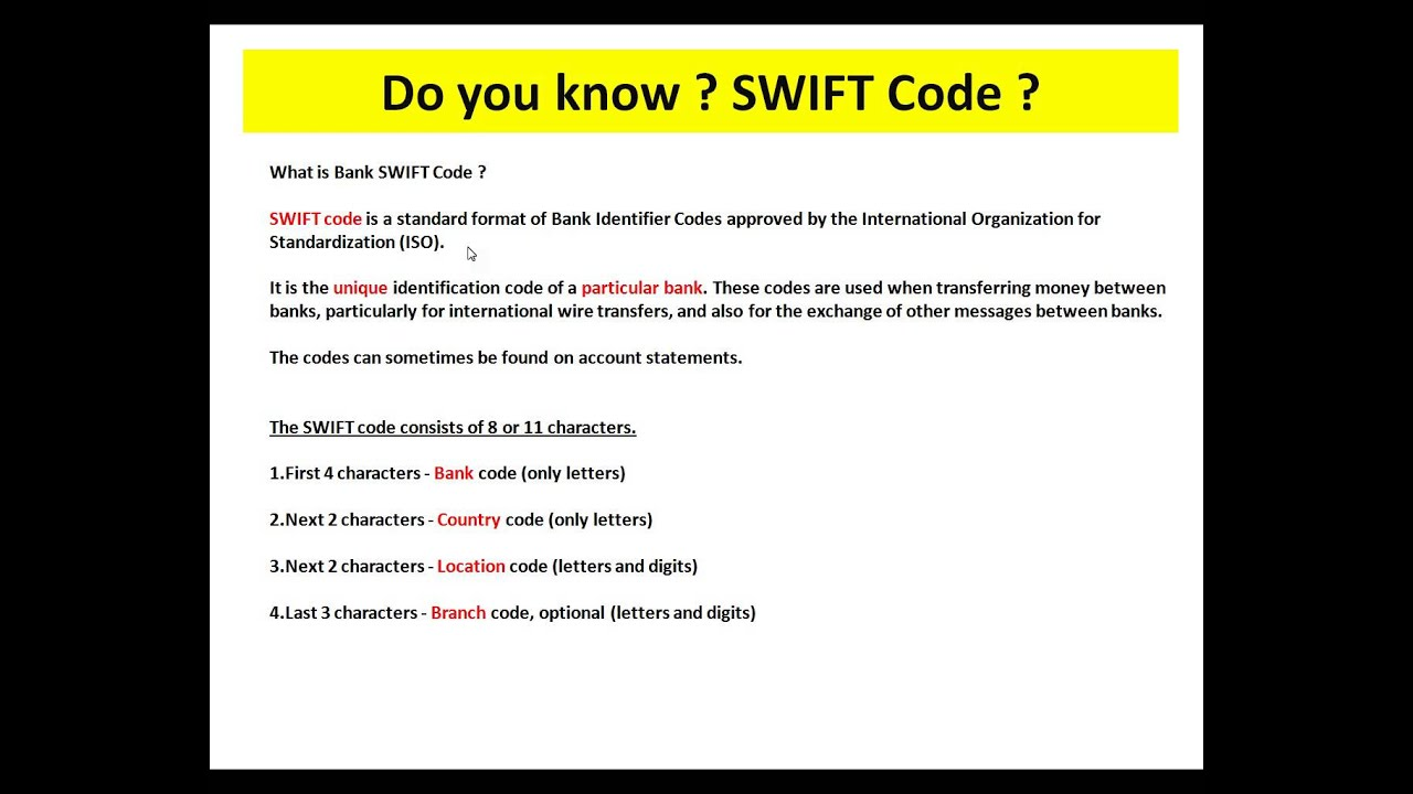 What Is Swift Code You