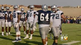 CBS 11 Cowboys Training Camp Report 8-15-18 10 pm Austin, Fred & LVE hurt in practice