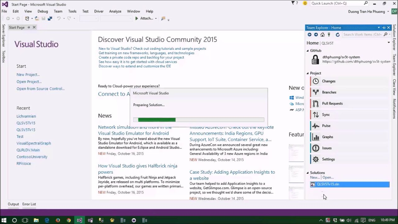 How to Clone and Commit GitHub Repositories in Visual Studio 2015