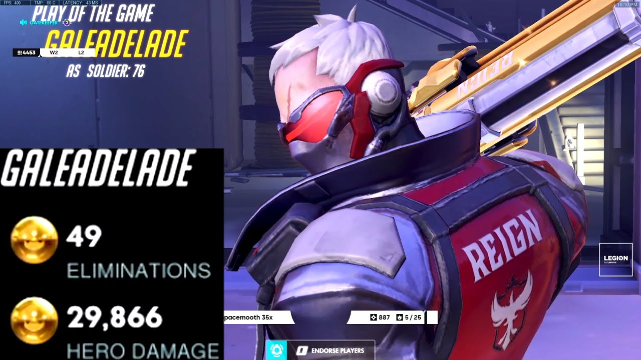 GALE DOMINATING AS SOLDIER 76 - 49 ELIMS! POTG! [ OVERWATCH SEASON 24 TOP 500 ]