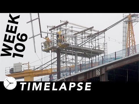 Construction time-lapse with 25 closeups: Week 106: Structure for Dichroic Fin, and more
