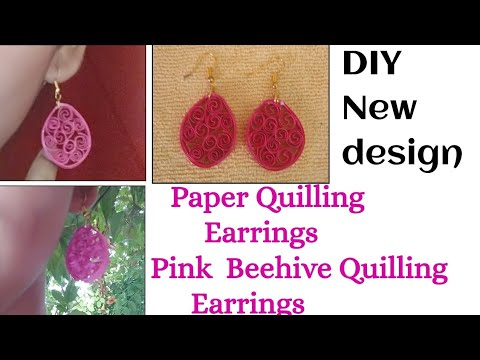 Paper Quilling Earrings /Pink  Beehive Quilling Earrings /DIY/New Design