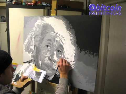 Auction painting:  Albert Einstein, bitcoin will take you everywhere