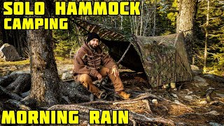 Solo Hammock Camping - Waking Up In A Rain Fall