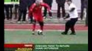 Chechen President plays football