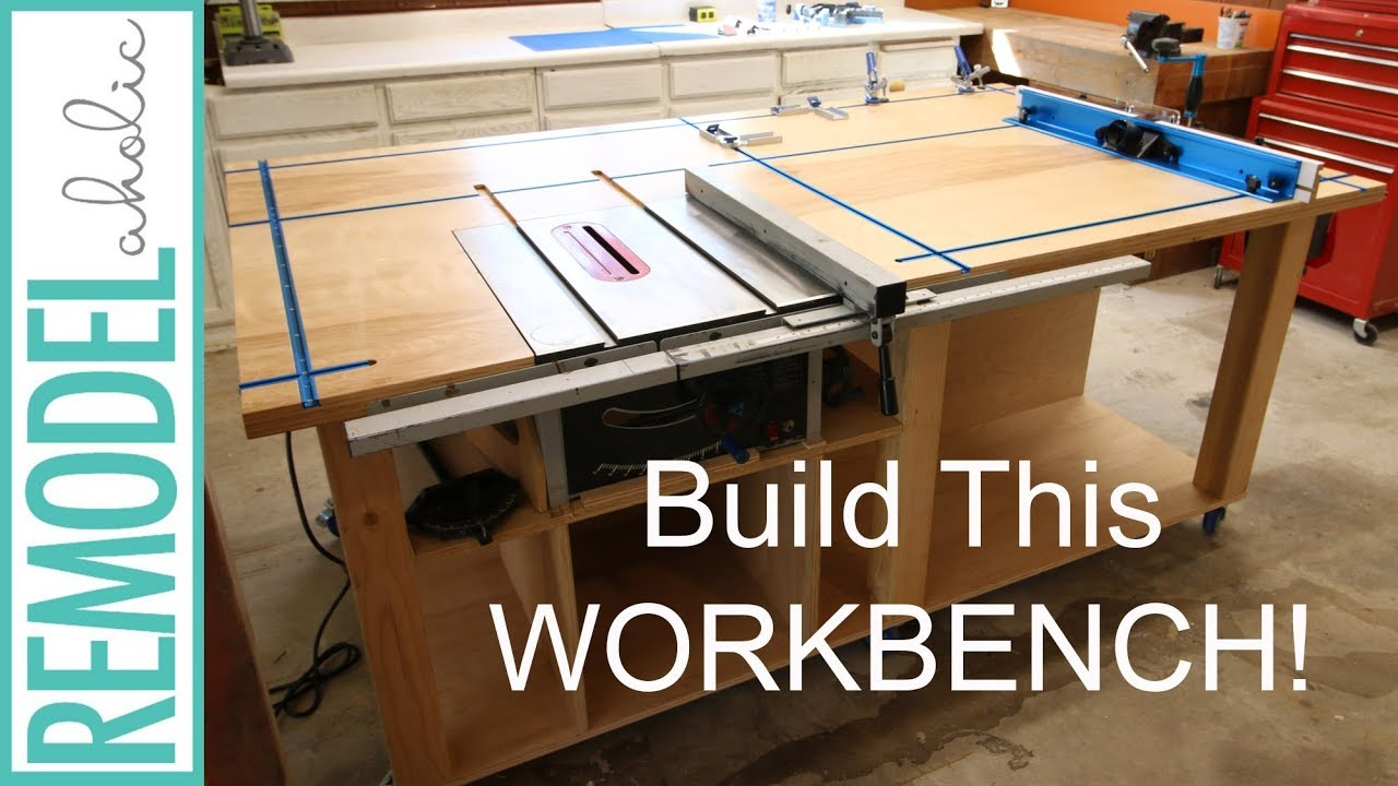 Remodelaholic Table Saw Workbench Building Plans With Rockler T Track System