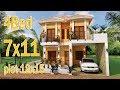 Sketchup Modeling Home Plan 7x11 Meter 4 Bedrooms