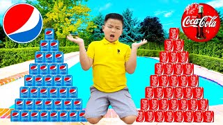 Wendy and Alex Pretend Play Coke Vs Pepsi Challenge for Kids