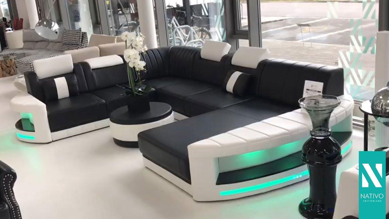 nativo m bel deutschland designer sofa atlantis xxl mit led beleuchtung schwarz wei youtube. Black Bedroom Furniture Sets. Home Design Ideas