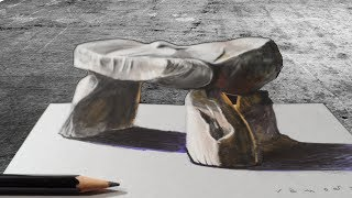 STONE ILLUSION - How to Draw 3D Dolmen - Trick Art on Paper