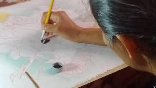 Rosas brancas – Pintura em tecido – parte1