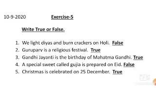 EVS L-7 Our Celebrations (Exercise-5 Write True or False)