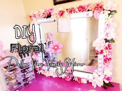 DIY Dollar Store Floral Vanity Mirror