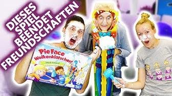 PIE FACE WOLKENKLATSCHER! Wer klatscht wem eine ins Gesicht? Neue + fiese Pie Face Challenge Deutsch