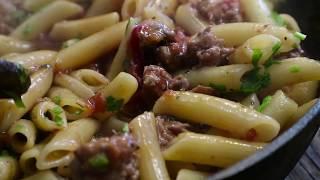 Макароны с колбасками | Пенне с колбасками и томатом | Penne with sausages and tomato