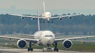 Watch out! AIRBUS A380 BEHIND YOU - BIG PLANES everywhere - Frankfurt Airport (4K)