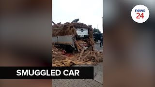 WATCH   Smuggled bakkie hidden on truck discovered before crossing border into Mozambique