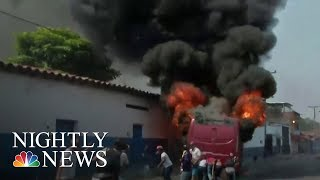 Venezuelans And Govt. Troops Clash Over Maduro Regime's Refusal To Accept Aid | NBC Nightly News