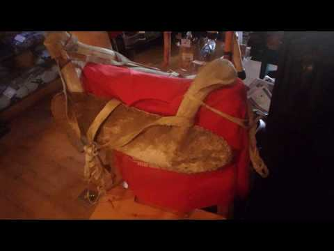 Antique Native Indian Saddle Made Of Elk Antlers And Hides In Alberta, Canada