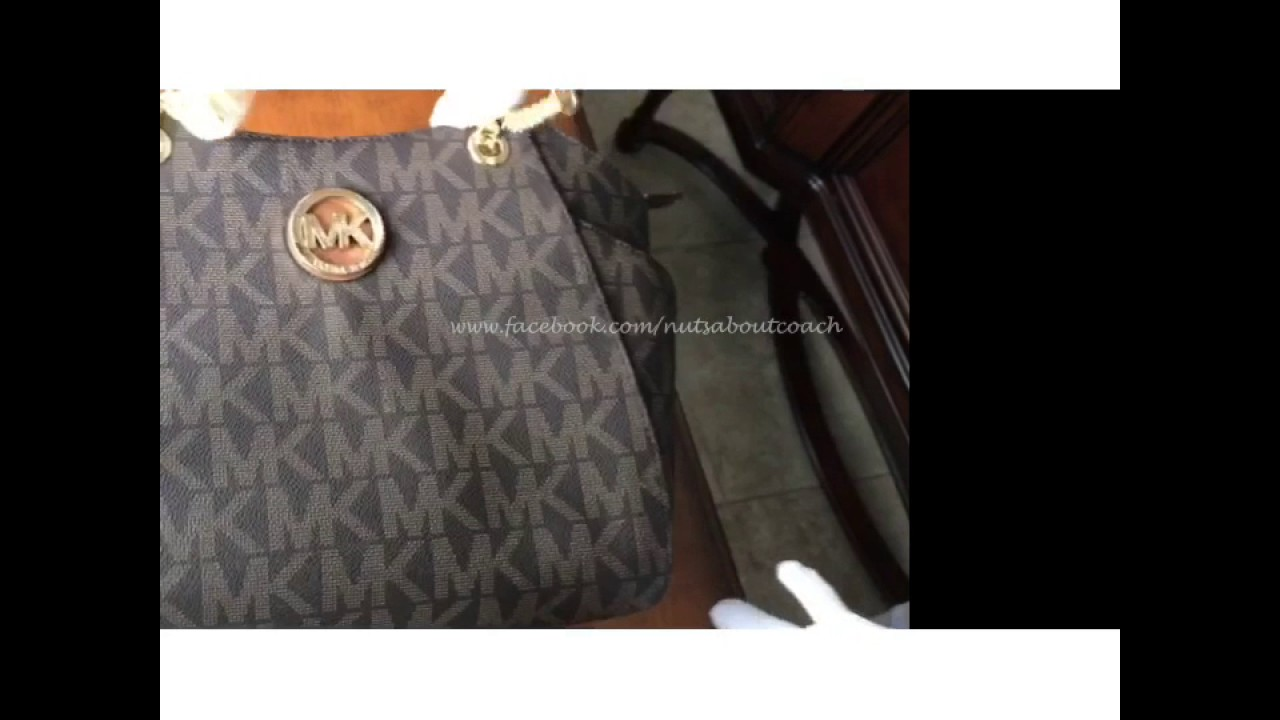 3dab9ee1f97a Michael Kors FULTON Brown PVC Jet Set Travel Chain Shoulder Tote Bag ...