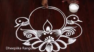 Diwali festival Diya Peacock rangoli kolam designs || Deepavali muggulu ||  दीवाली रंगोली डिजाइन