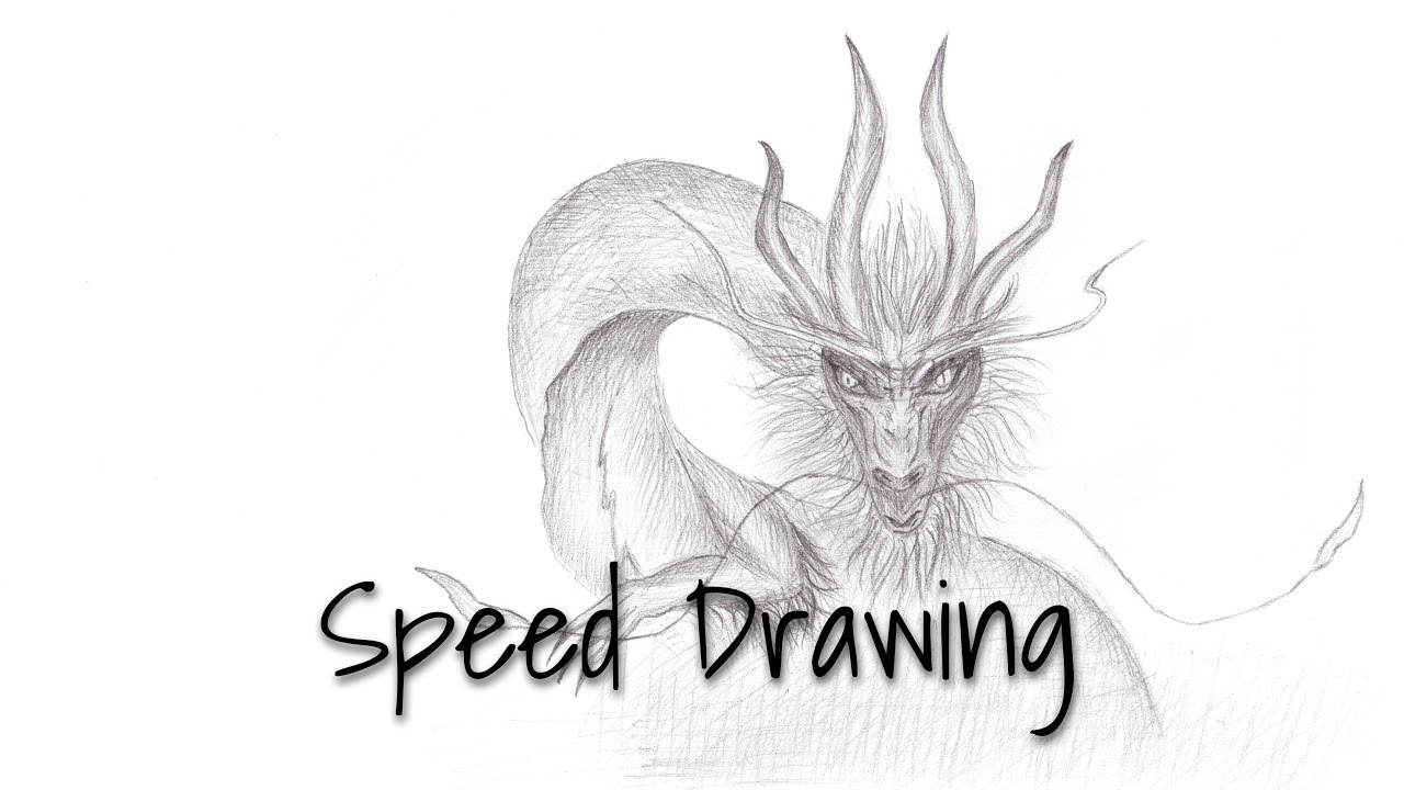 Speed drawing dragon pencil sketch