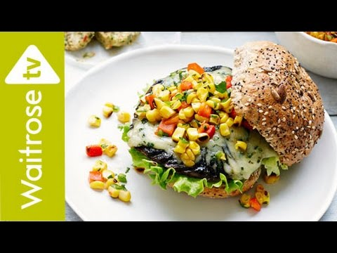 Mushroom And Gruyère Burgers With Sweetcorn Salsa  | Waitrose