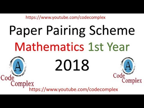 Intermediate level - Mathematics Paper Pairing Scheme 2018 - Math scheme 2018 1st Year