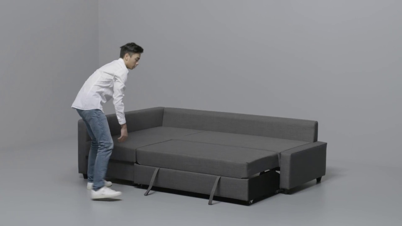 ikea friheten anleitung vom ecksofa zum bett youtube. Black Bedroom Furniture Sets. Home Design Ideas