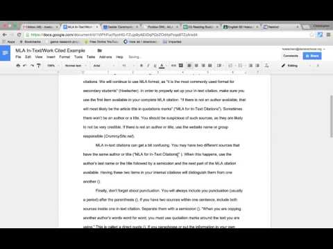 Using MLA Format for In-Text (Internal) Citations