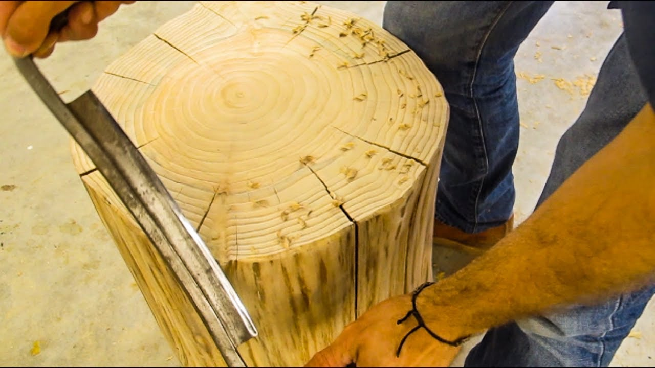 Making A Side Table From A Cypress Stump YouTube - Cypress stump coffee table