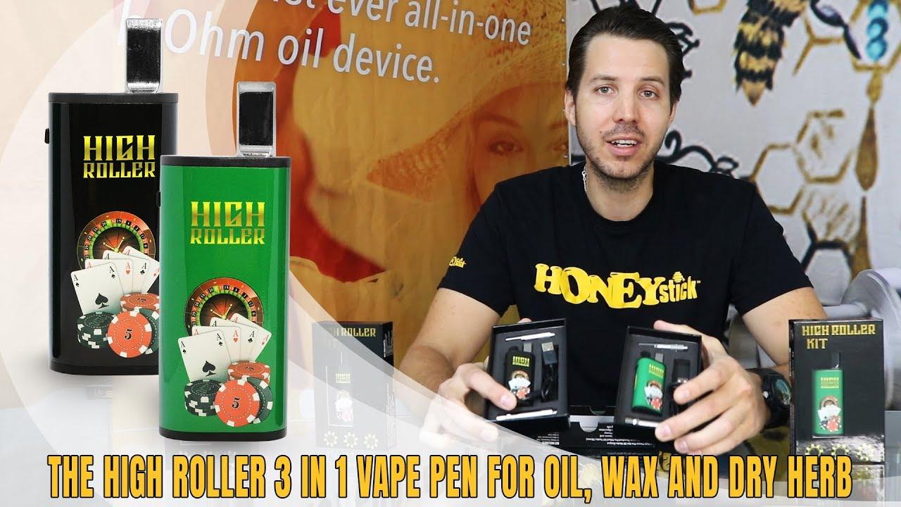 HoneyStick High Roller Mini Vape Mod for 510 Thread Carts | 3 in 1 vape pen  for oil, wax & dry herb