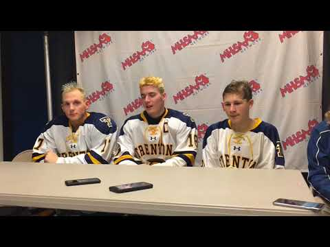 Trenton hockey players react after 3-2 win over Brother Rice in D2 semis