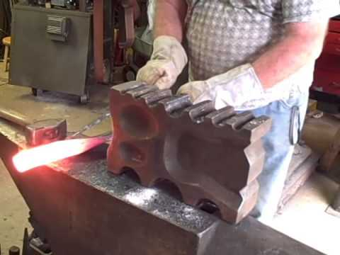 Forging a gun barrel