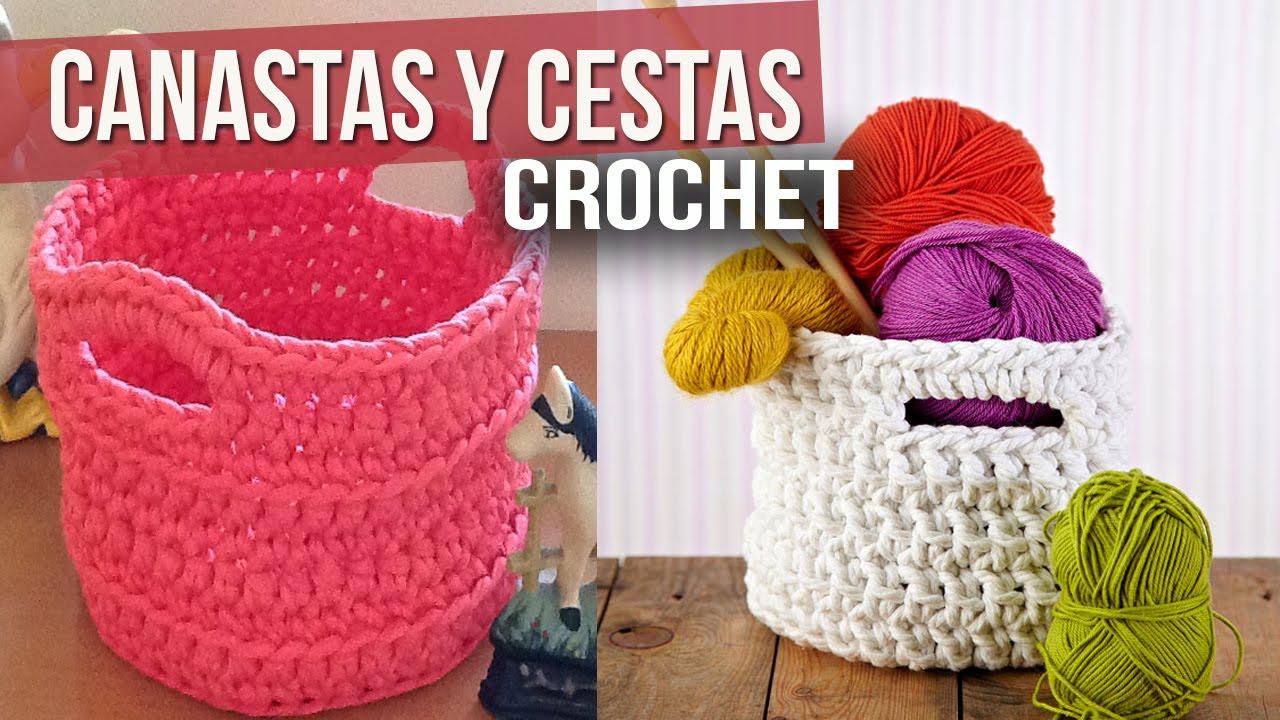 Canastas y cestas tejidas a crochet o ganchillo ideas y - Cestas de ganchillo ...