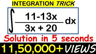 INTEGRATION SHORTCUT//SOLVE LINEAR/LINEAR FORM IN 5 SECONDS/JEE/EAMCET/NDA TRICKS