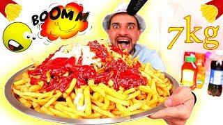 تحدي أكل اكبر كمية بطاطس مقلية ومقرمشة بالعالم بالجبنة و صلصة الدوريتوس ! French Fries Challenge