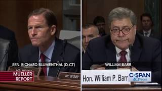 """Sen. Blumenthal (D-CT) asks about Special Counsel Mueller's letter, calling it """"an extraordinary act…rebuking the Attorney General of the United States ..."""