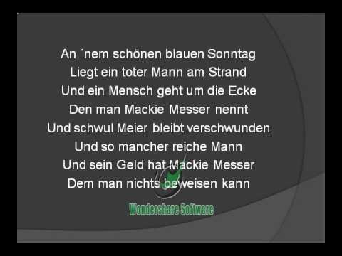 Drei Groschenoper - Moritat -  Mack the Knife -  MACKIE MESSER von Wolfgang Linsmaier